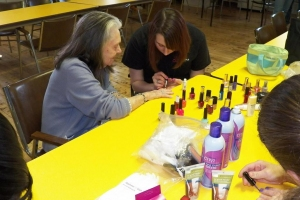 Ladies from St. Joseph's getting ready for Easter Sunday.