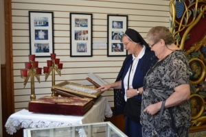 Sisters Visiting Golden-domed Ukrainian Catholic Cathedral of the Immaculat