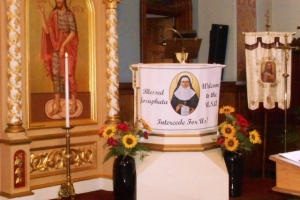Blessed Josaphata icon with relic visits St. John the Baptist in Syracuse, NY